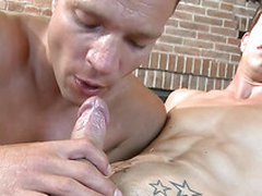 Cute twink gets a lusty massage from handsome gay dude