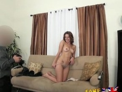 FakeAgentUK Dwarf agent gives hot victuals chick a concise be in love with on casting couch